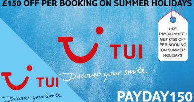 TUI Payday £150 OFF PER BOOKING ON SUMMER HOLIDAYS