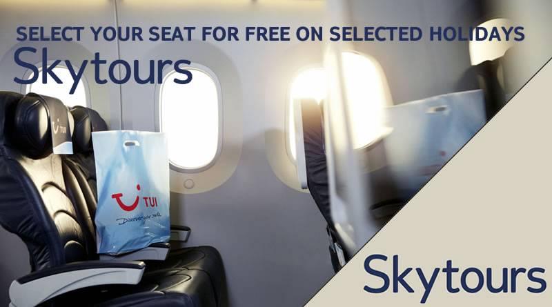 Selected Skytours hotels have the chance to upgrade your seat for free to select where you sit on a TUI flight